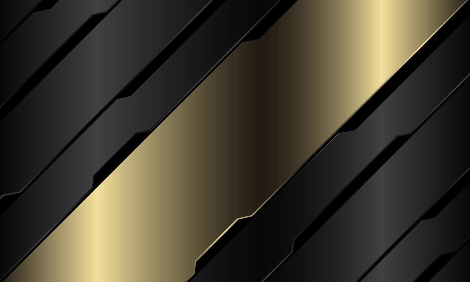 abstracte gouden banner grijs metallic zwart circuit cyber geometrische schuine streep ontwerp moderne luxe futuristische technologie achtergrond vectorillustratie. vector