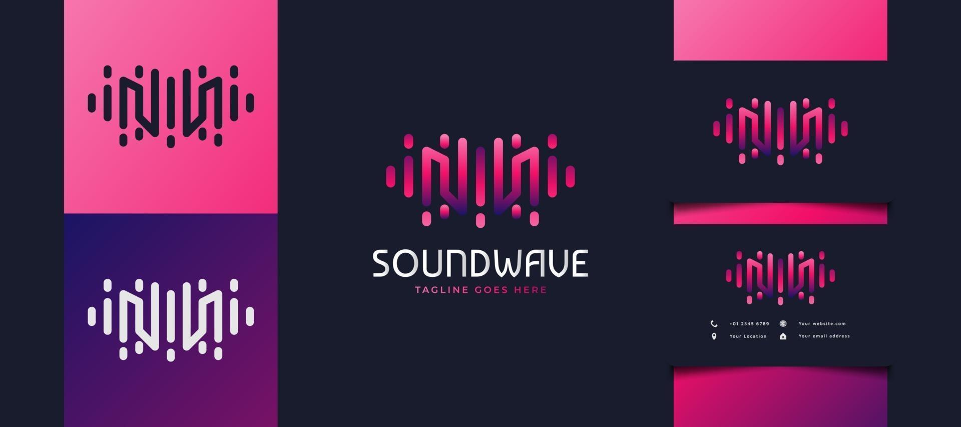 beginletter m-logo met geluidsgolfconcept in kleurrijk verloop, bruikbaar voor bedrijfs-, technologie- of muziekstudio-logo's vector