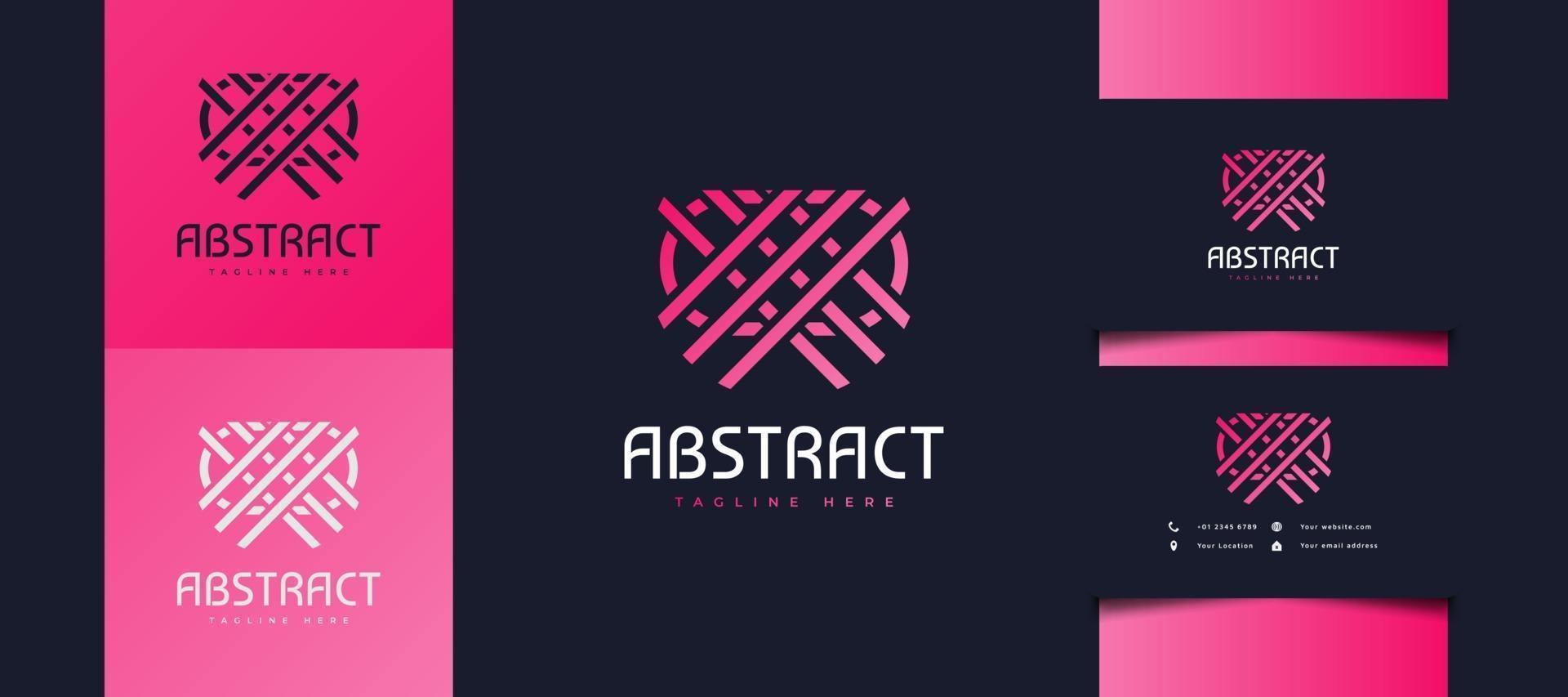abstract lijnlogo dat elkaar in roze gradiënt kruist, bruikbaar voor zakelijke of technologische identiteit vector