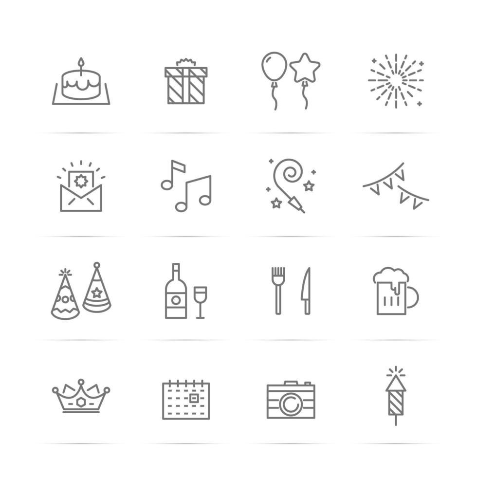 verjaardagsfeestje vector lijn iconen
