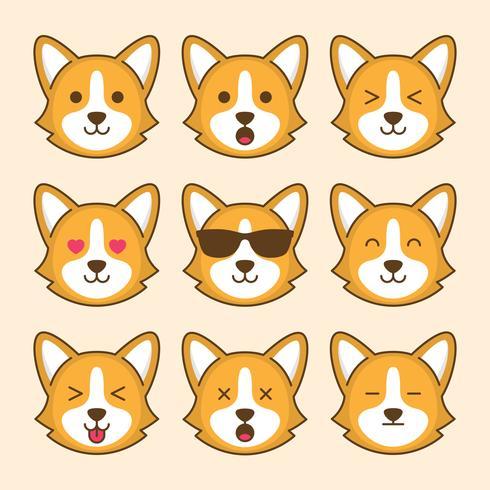 Leuke Corgi Dog Emoticon vector