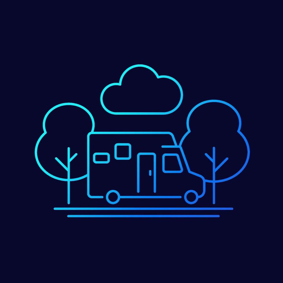 camper, reizen in camping busje lijn vector pictogram