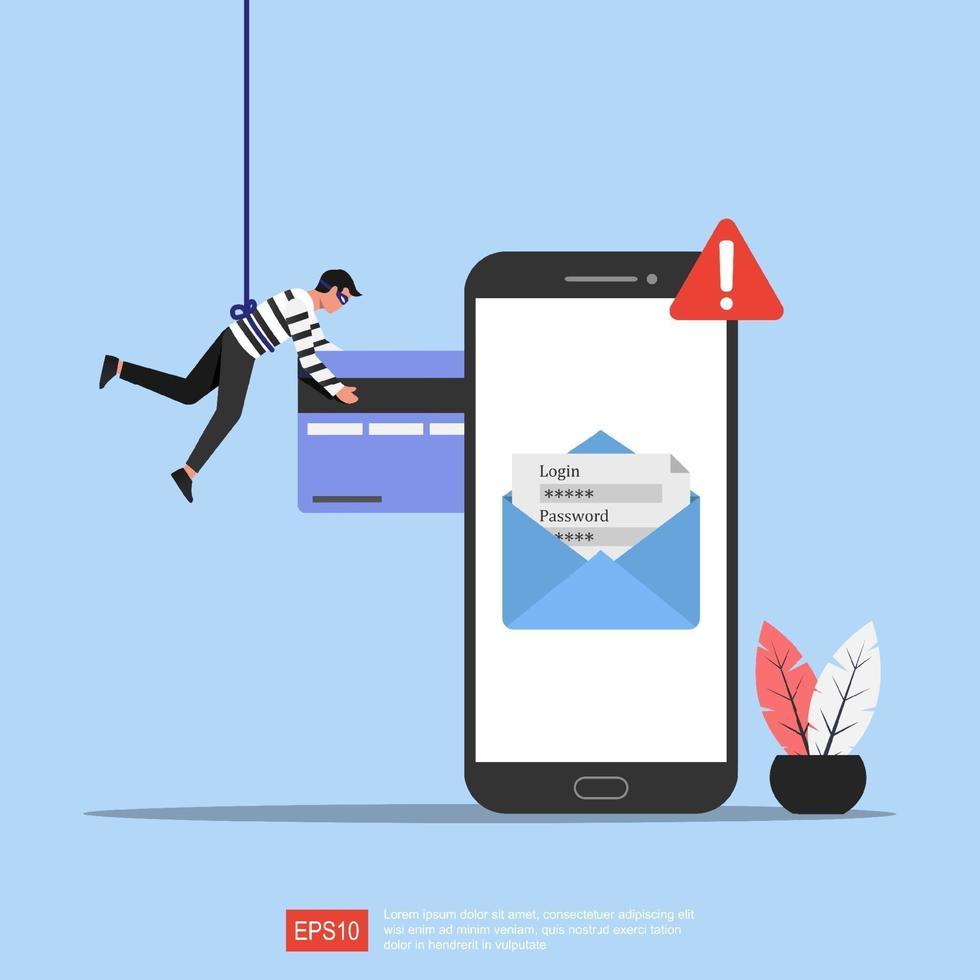 phishing concept illustratie. cybercriminaliteit en fraude online met telefoonwaarschuwingssymbool. vector