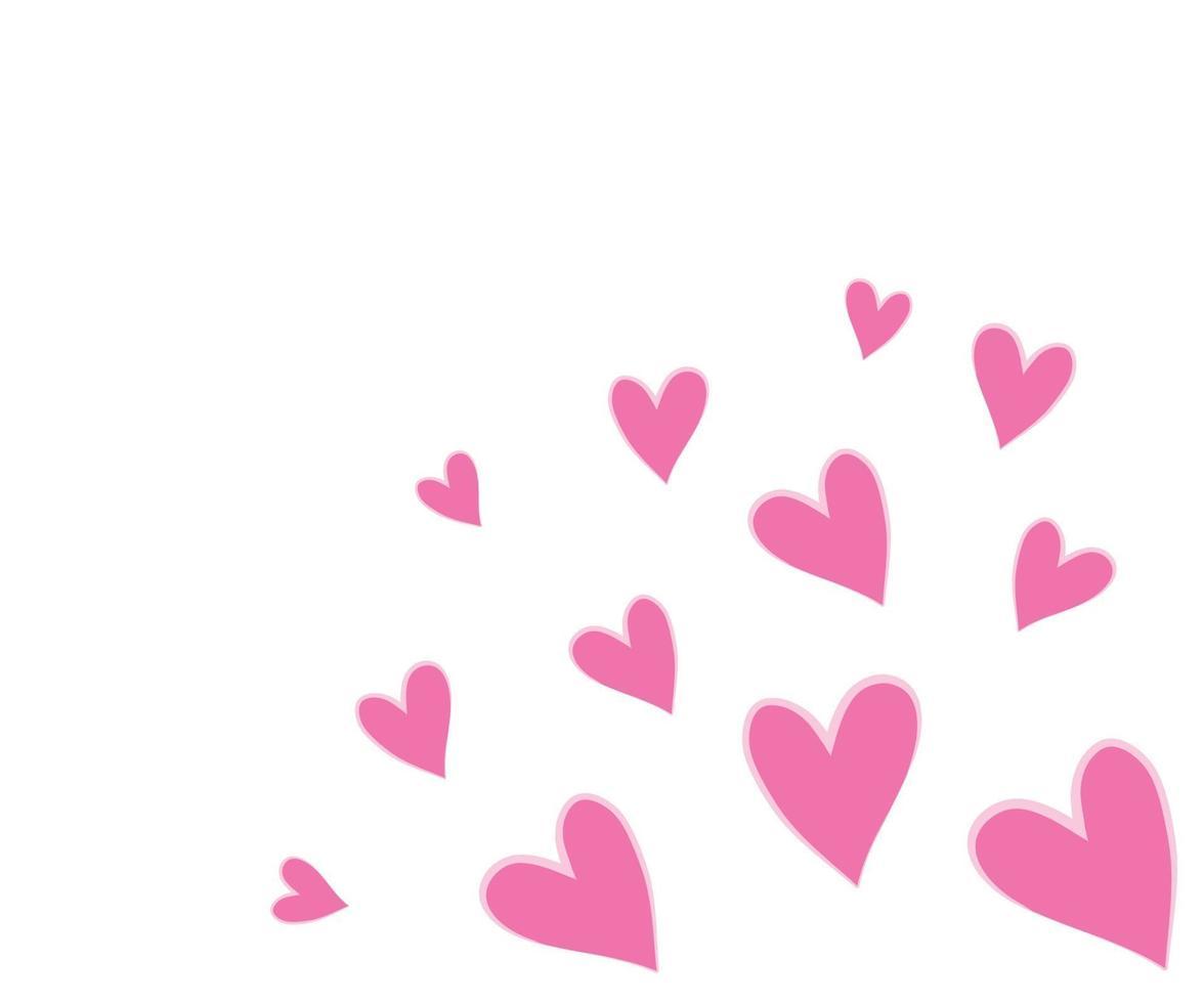 mooie harten vallen op de achtergrond. uitnodiging sjabloon achtergrondontwerp, romantische wenskaart, poster. Valentijnsdag. vector illustratie