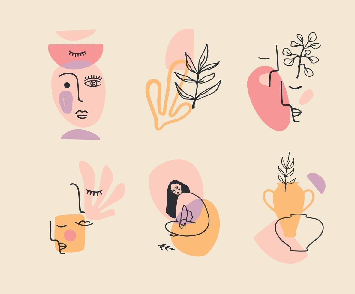 set van hedendaagse composities. lijn kunst. modern vectorontwerp voor logo, huisstijl, t-shirt, posters, kaarten en meer vector