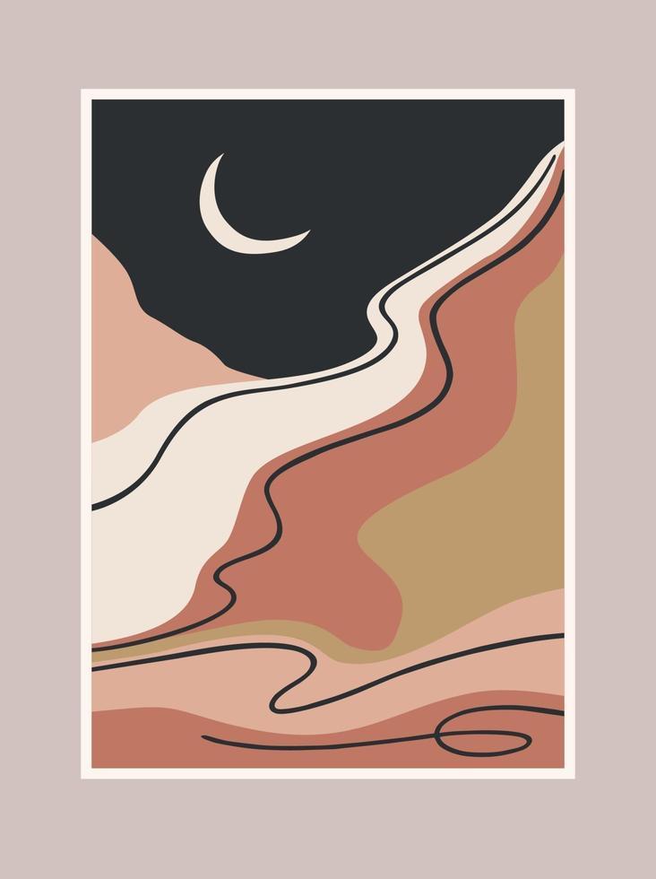 hedendaagse kunstdruk met zuidelijk landschap. Middellandse Zee, Noord-Afrika. lijn kunst. modern vectorontwerp vector