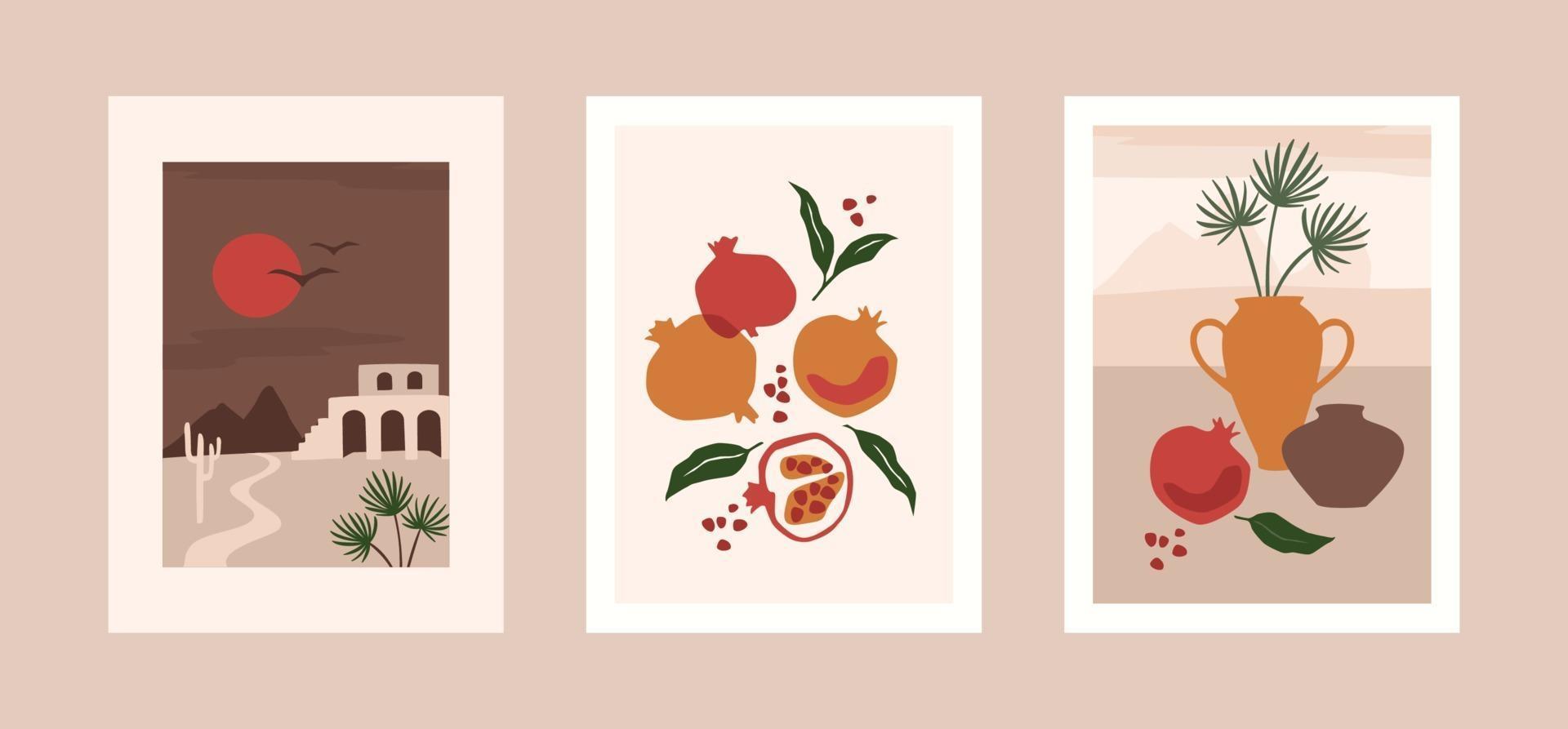 collectie hedendaagse kunstprints. modern vectorontwerp voor kunst aan de muur, posters, kaarten, t-shirts en meer vector