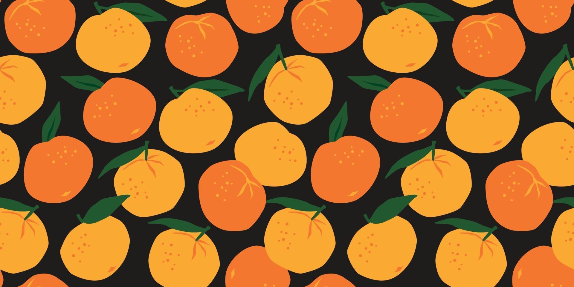 vector naadloze patroon met mandarijnen. trendy handgetekende texturen. modern abstract ontwerp