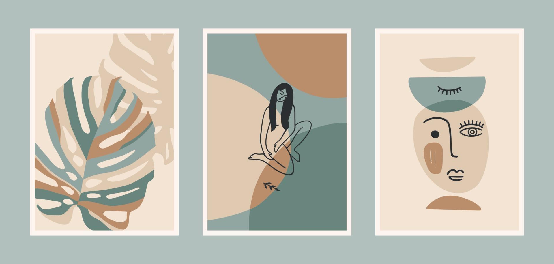 set van hedendaagse kunstafdrukken. lijn kunst. modern vectorontwerp vector