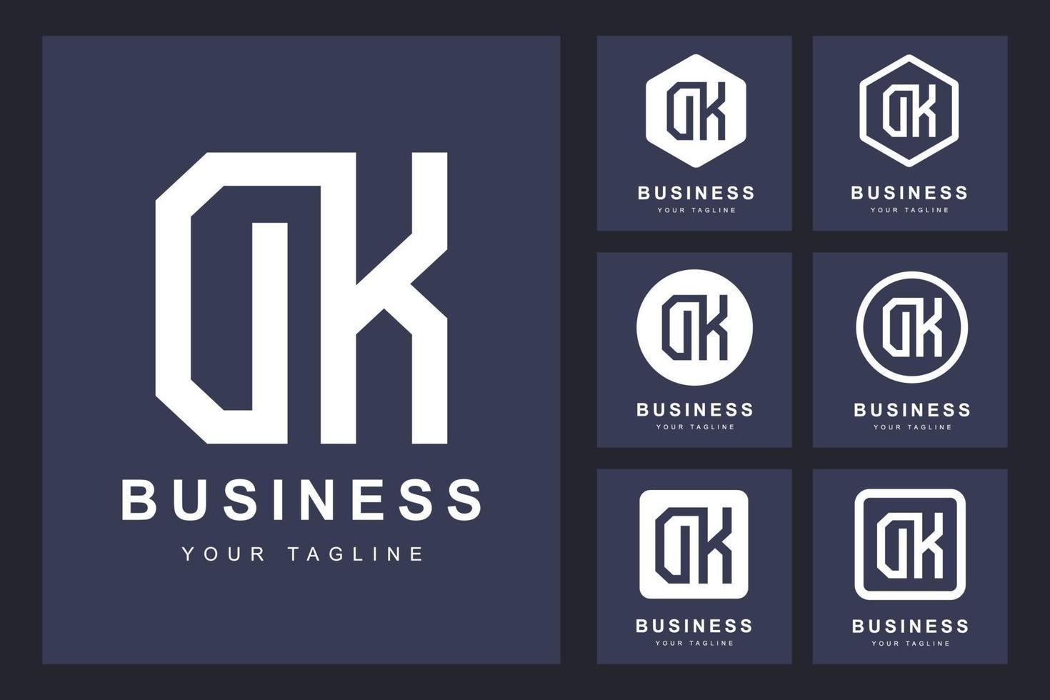 minimalistische dk, dk brief logo set vector