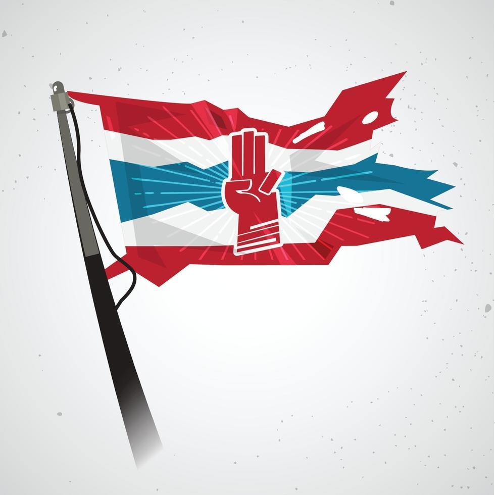 drie vinger groet op de vlag van thailand - vector
