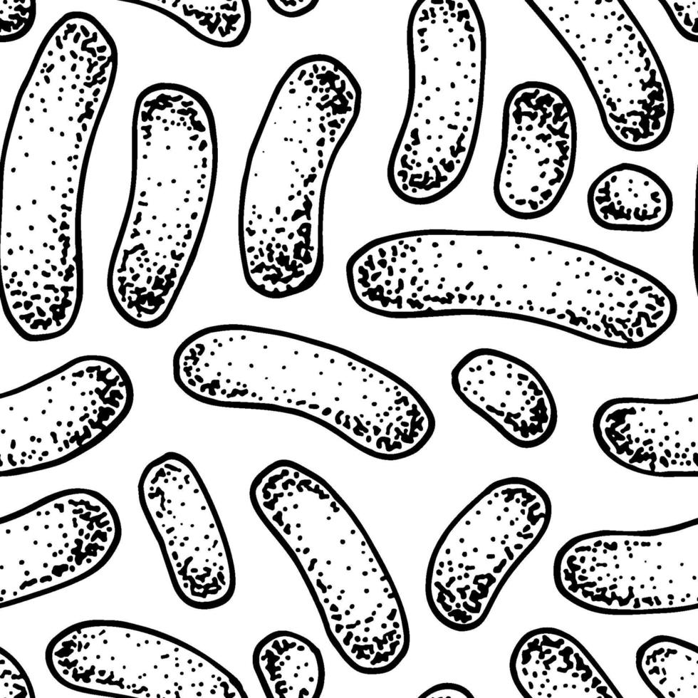 bacteriepatroon in realistische schetsstijl. hand getekend medische achtergrond. vector illustratie