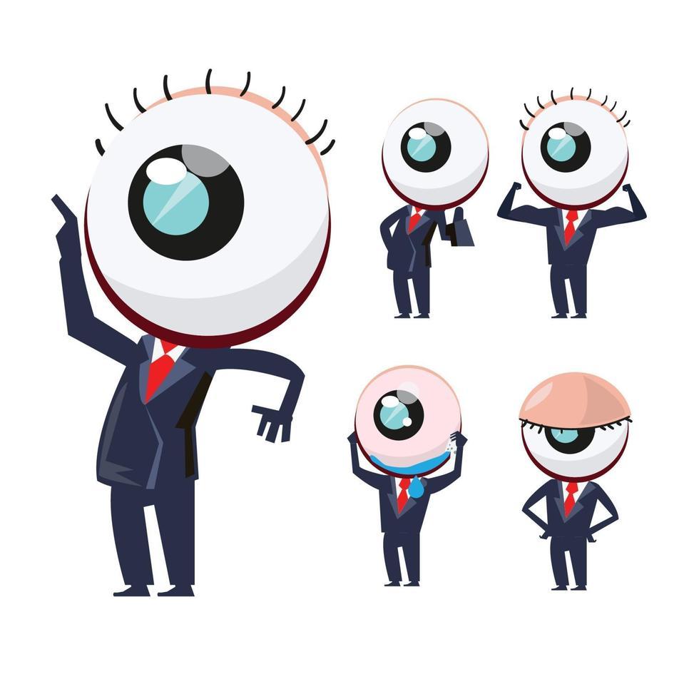 oogkarakters in zakenmanuniform. eye mascotte set - vector illustratie
