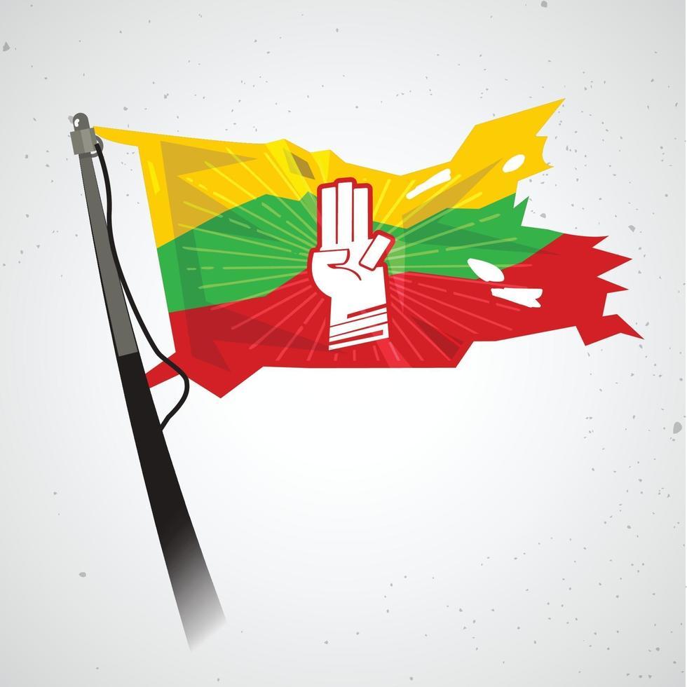 drie vinger groet op de vlag van myanmar - vector