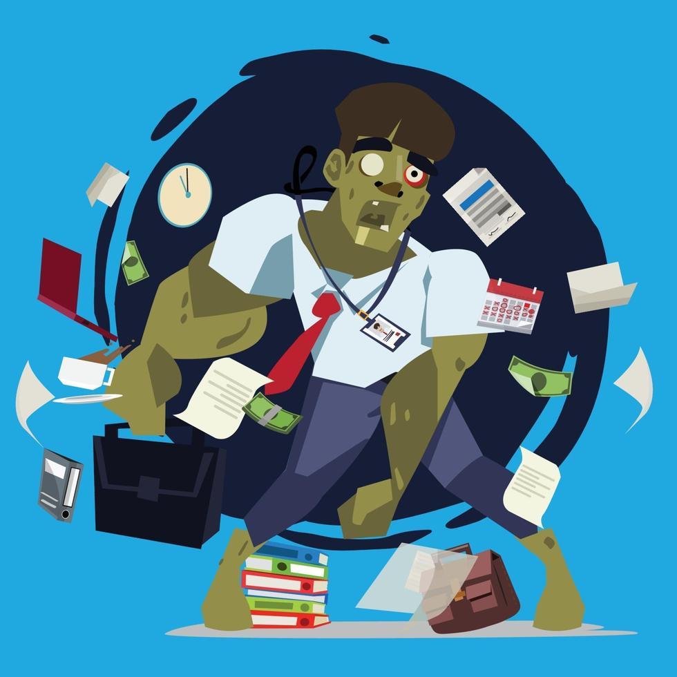 zakenman als zombie. druk en hard werken zakenman poster - vector afbeelding