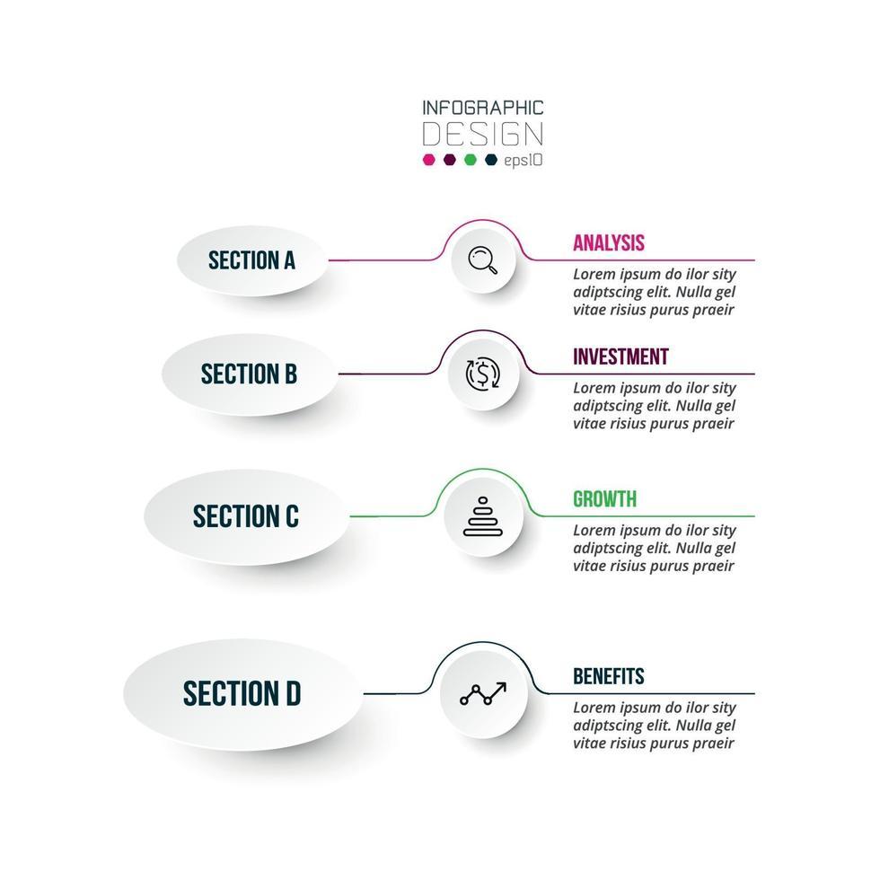 4 stappen proces werkstroom infographic sjabloon. vector