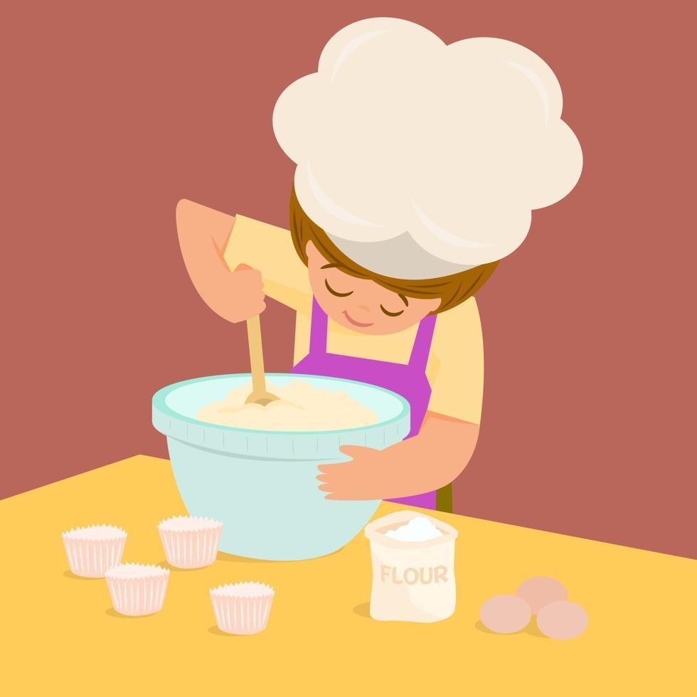 klein meisje dat een cake maakt vector