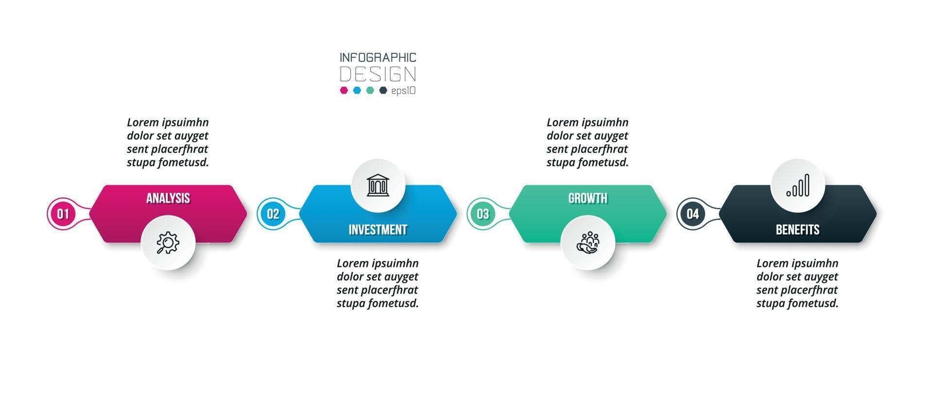 infographic bedrijfssjabloon met stap of optieontwerp. vector