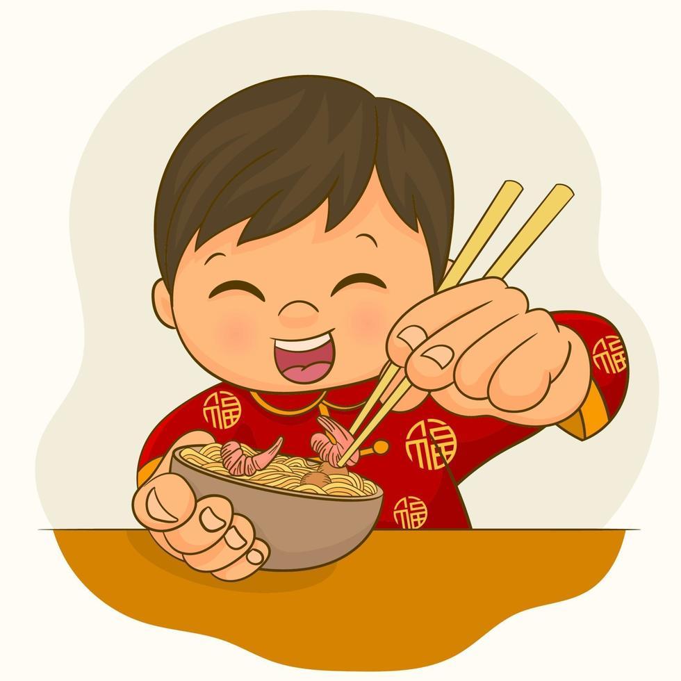 jongen in Chinese kledij die een kom ramennoedels eet vector