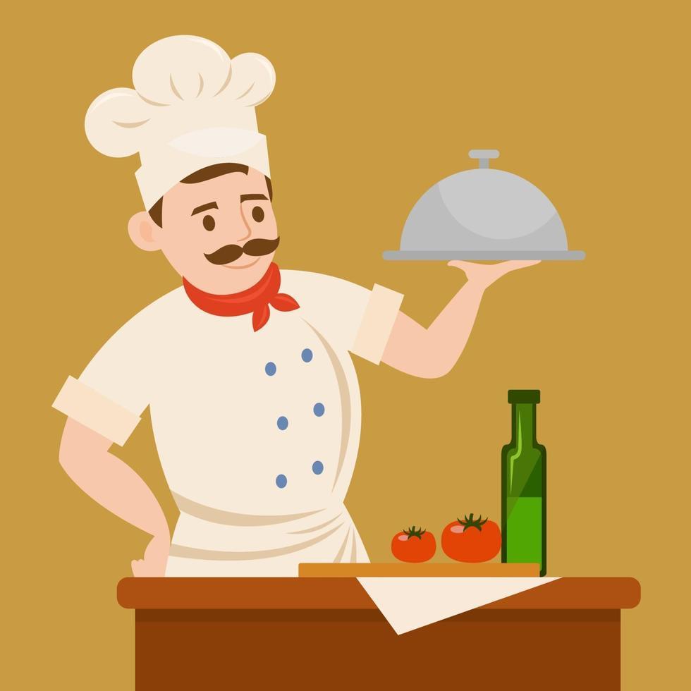 chef-kok karakter bedrijf zilveren schotel vector