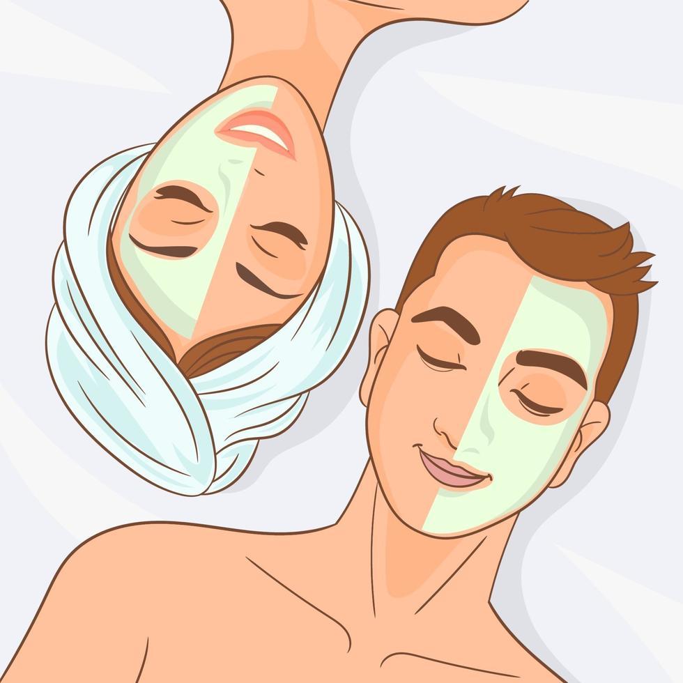gelukkig paar dat van gezichtsbehandeling geniet vector
