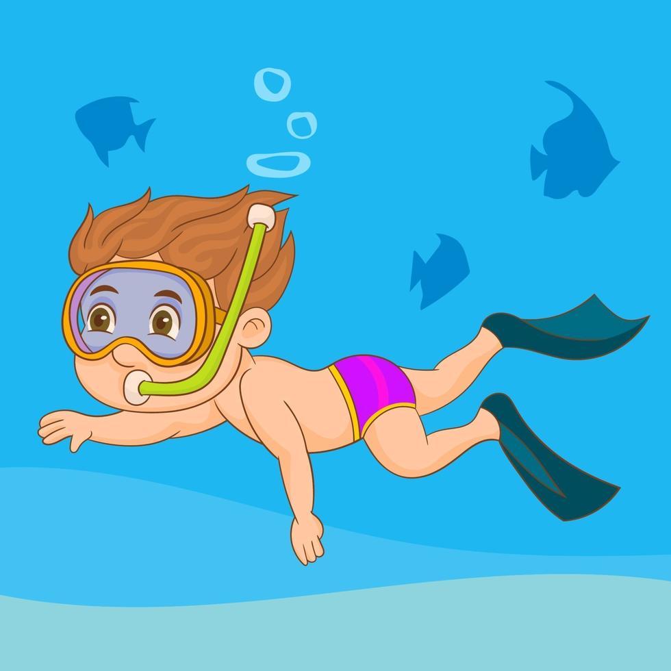 kind zwemmen met duiken snorkel vector