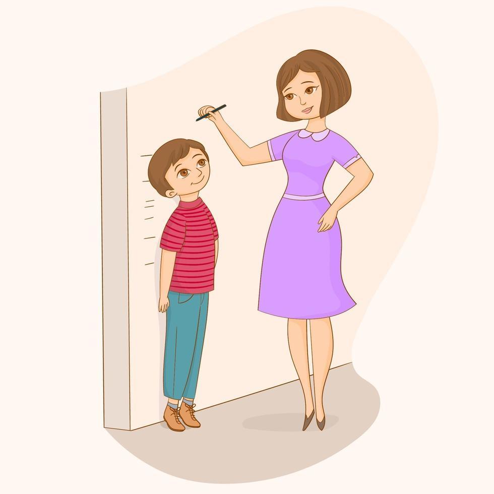moeder meet zoon hoogte vector