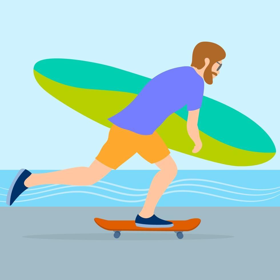 surfer rijden op een skateboard vector