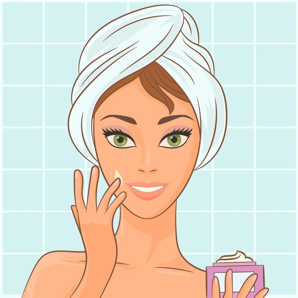 meisje zet cosmetische crème op haar gezicht vector