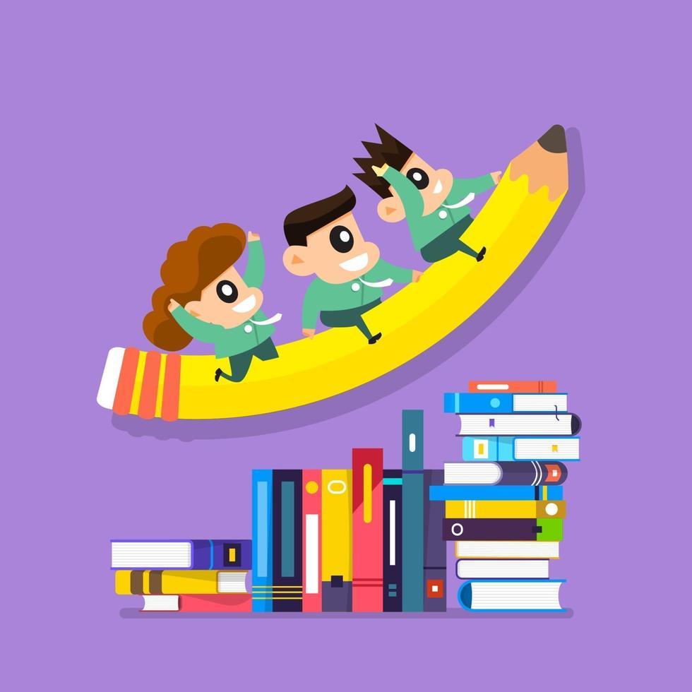 illustratie concept onderwijs met kinderen rijden potlood en boeken vector