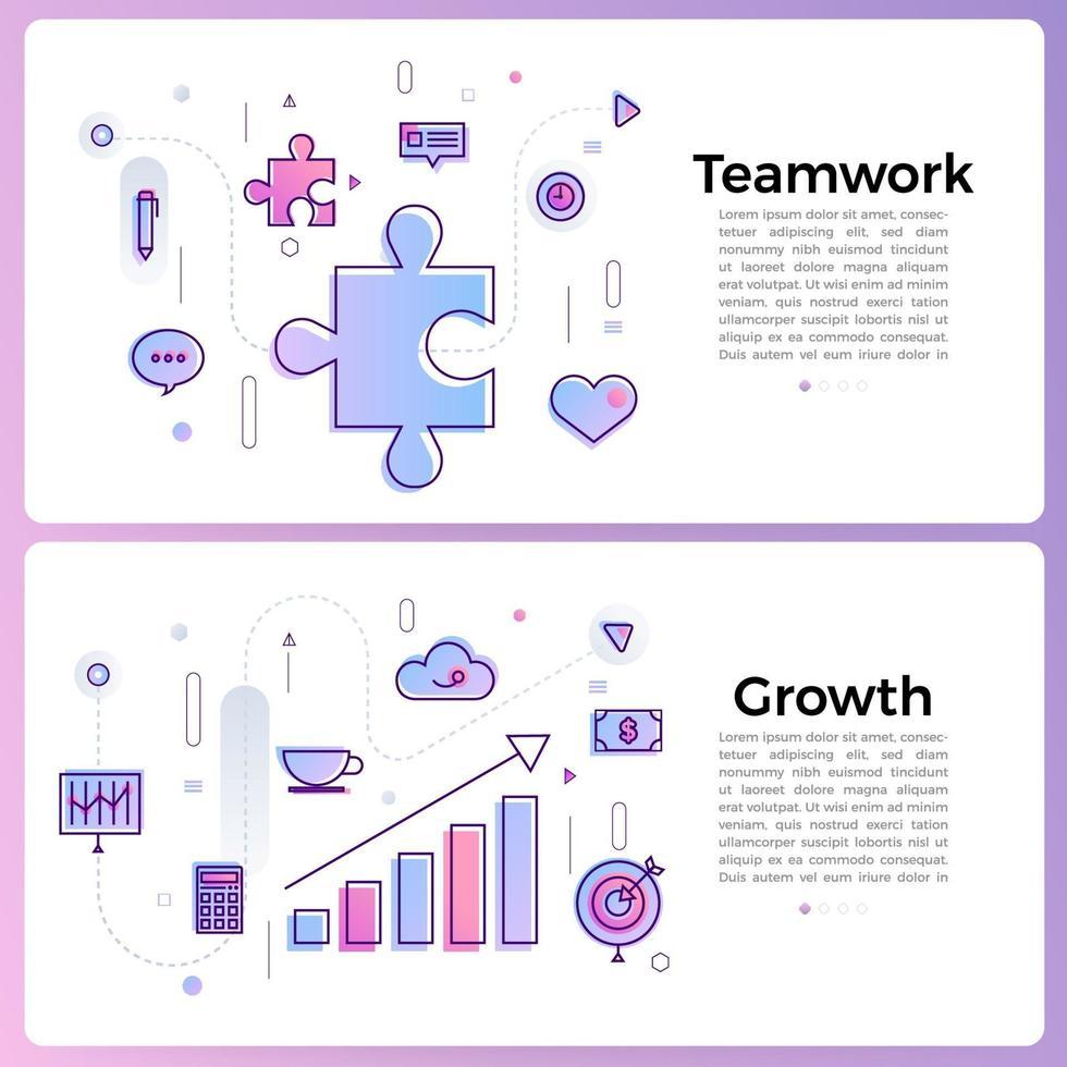 bannerillustraties met pictogrammen bedrijfsoverzicht vector