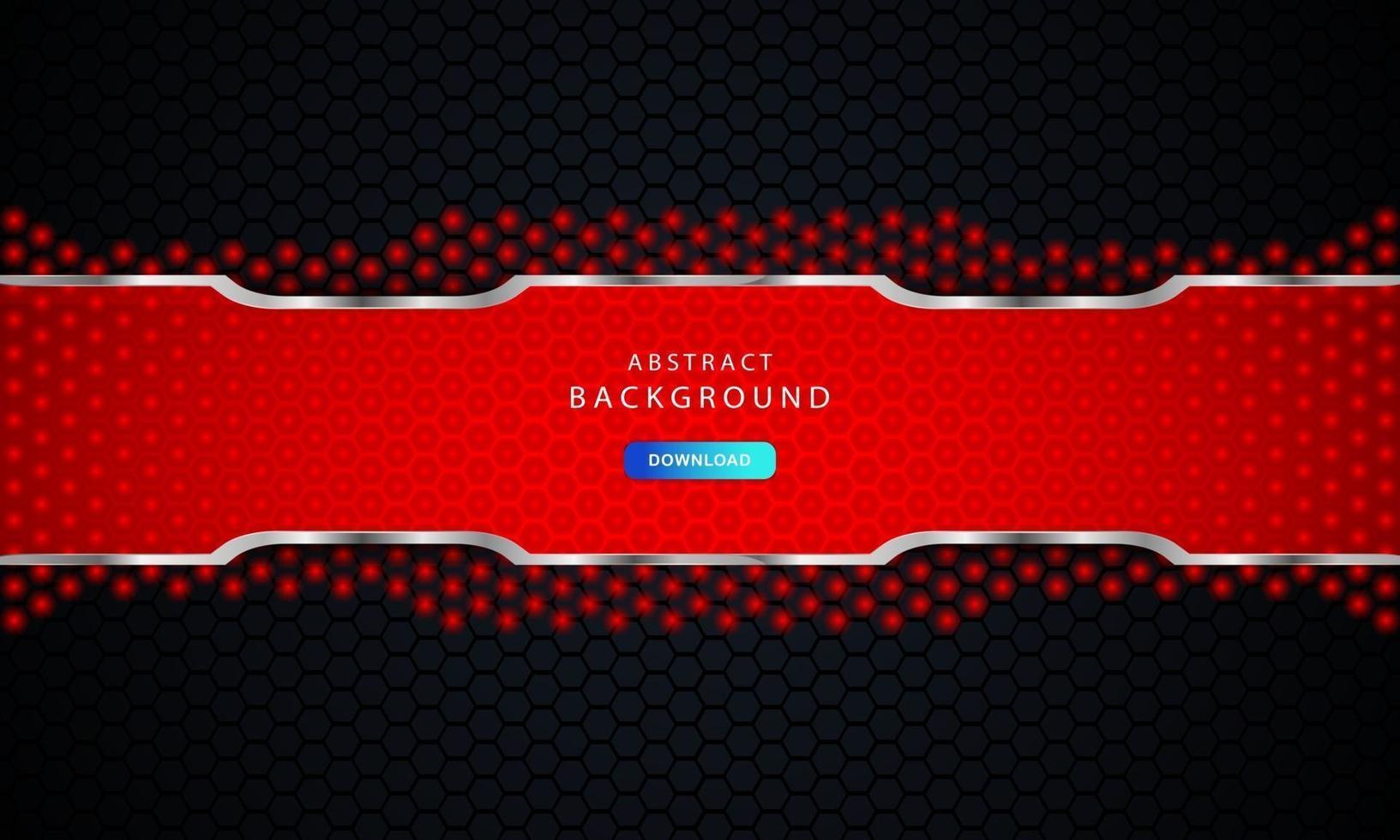 donkere zwarte zeshoekige achtergrond met rode en zilveren lijstdecoratie. vector