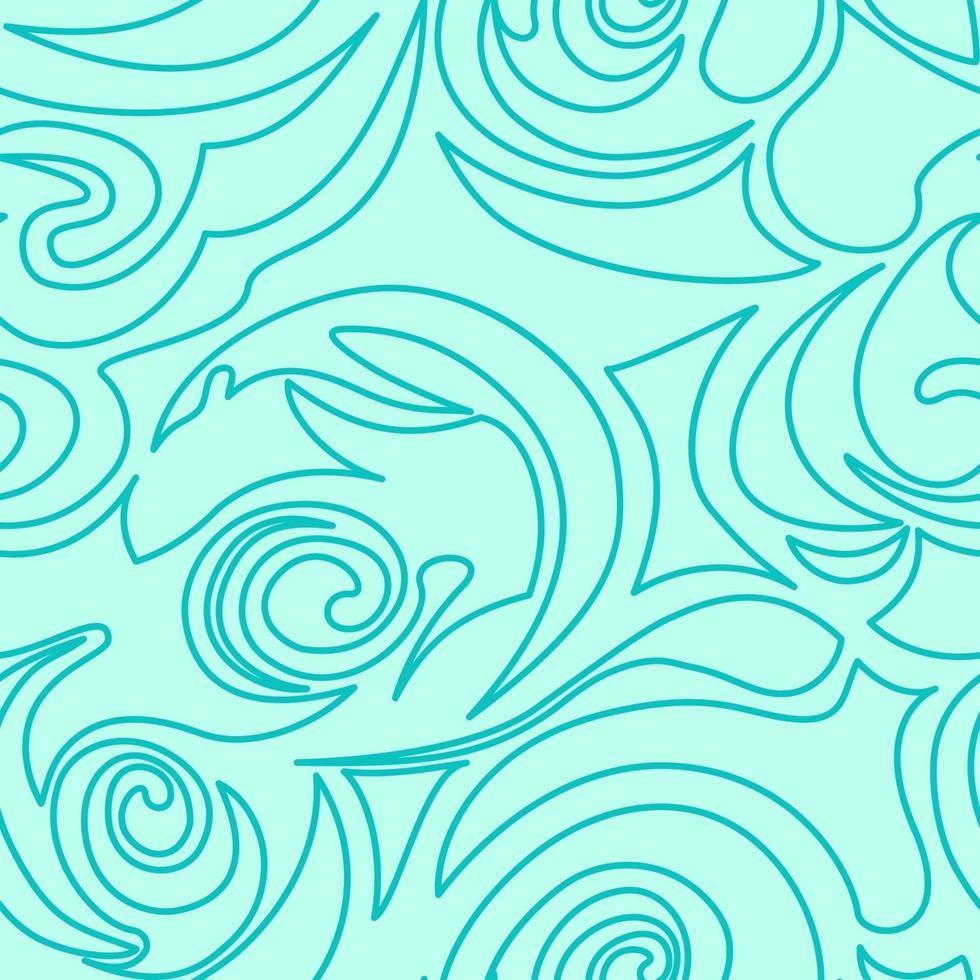 naadloze turquoise textuur van spiralen en krullen in een lineaire stijl. vector