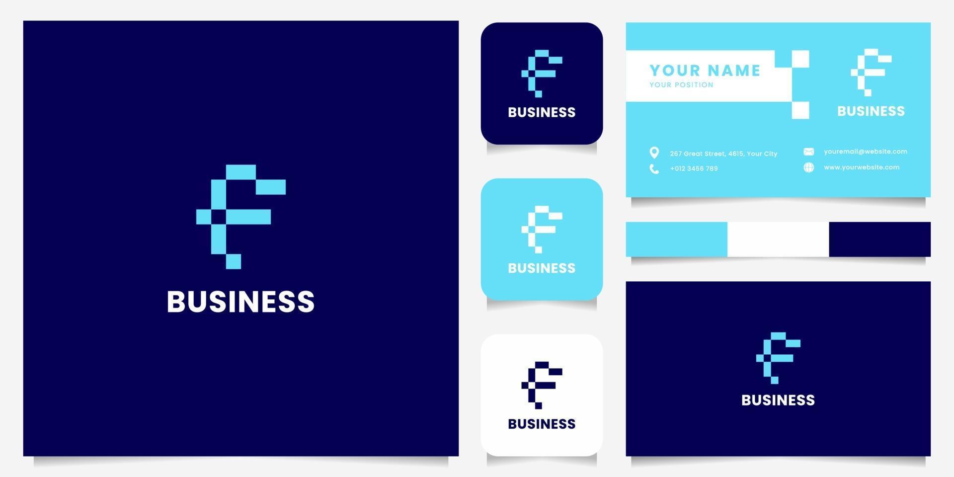 eenvoudig en minimalistisch blauw pixel letter f-logo met sjabloon voor visitekaartjes vector
