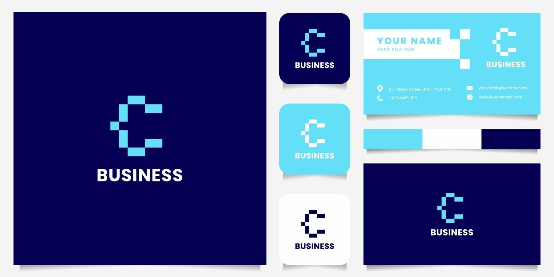 eenvoudig en minimalistisch blauw pixel letter c-logo met sjabloon voor visitekaartjes vector
