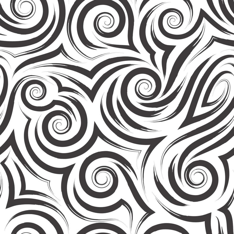 vector zwarte naadloze patroon van spiralen en krullen voor decoratie en afdrukken op stof op een witte achtergrond.