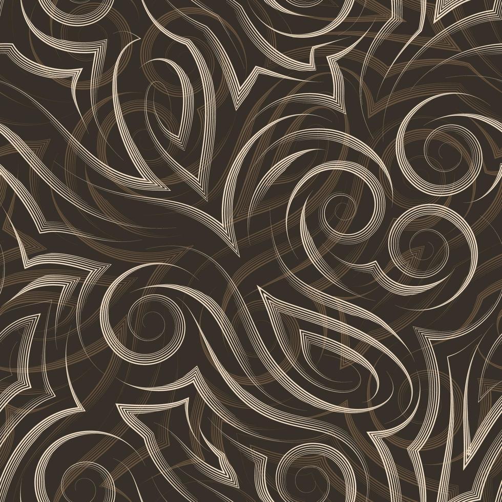 vector beige naadloze patroon getekend met een pen of voering voor decoratie op donkere achtergrond.