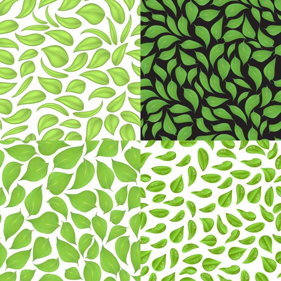 set van naadloze patronen van bladeren in verschillende stijlen. vector