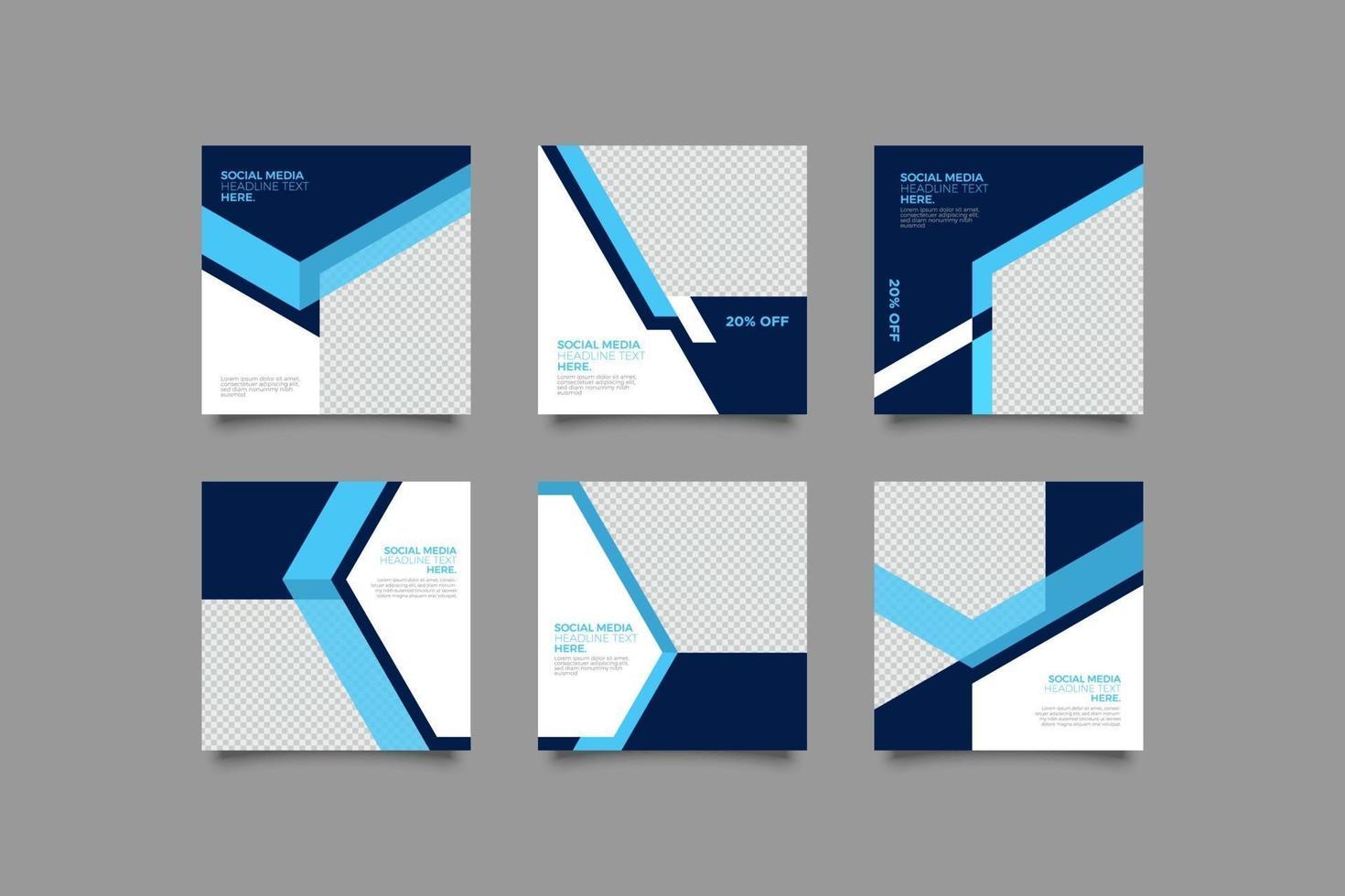 bedrijf met blauwe geometrische abstracte instagram postsjablonen instellen vector