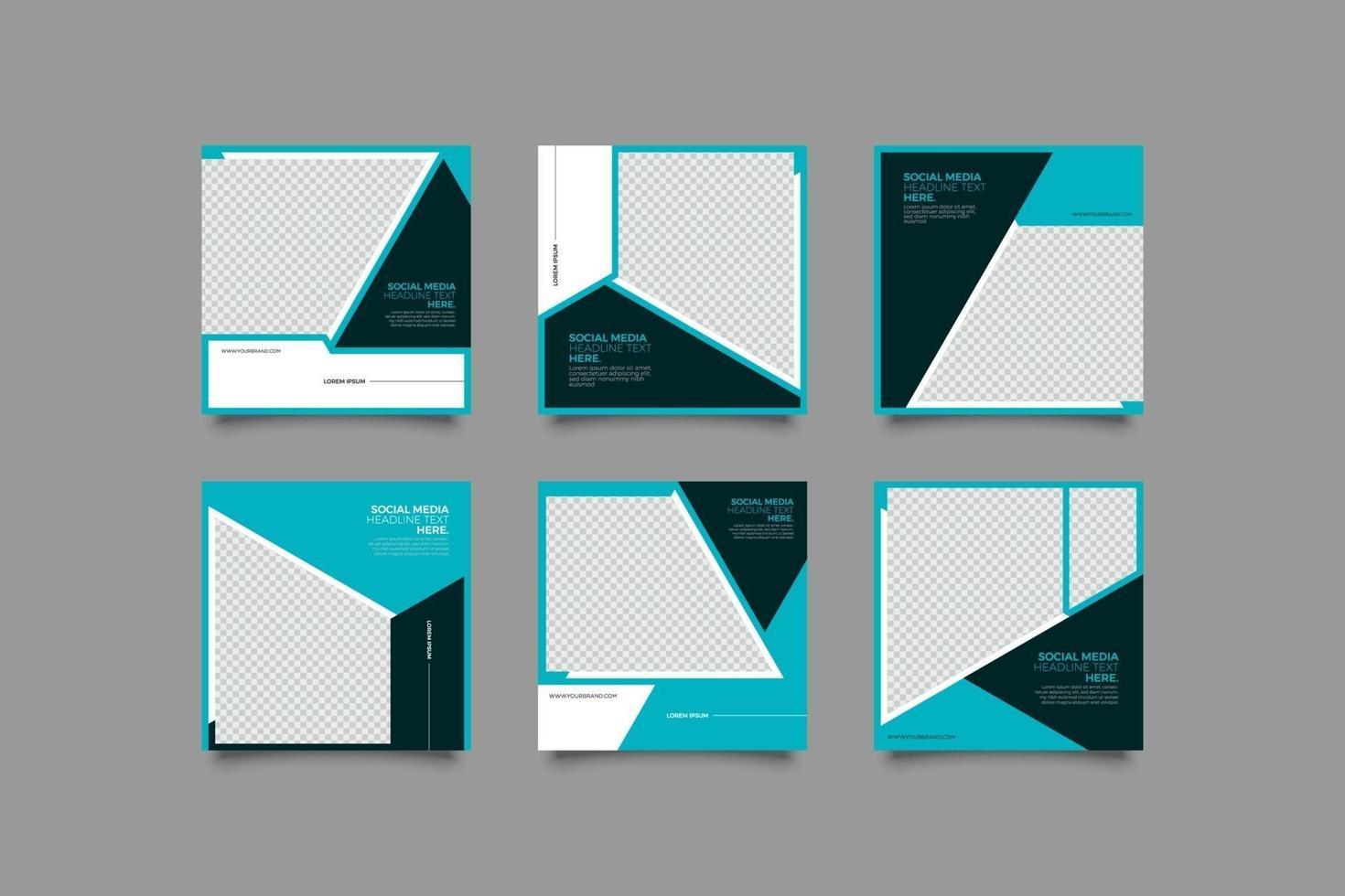 blauwe zakelijke geometrische instagram-postsjablonenbundel vector
