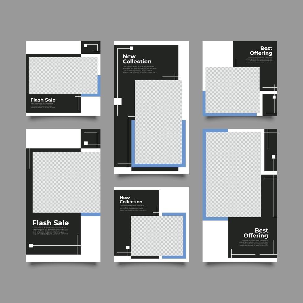 zwarte en blauwe mode sociale media postsjabloon vector