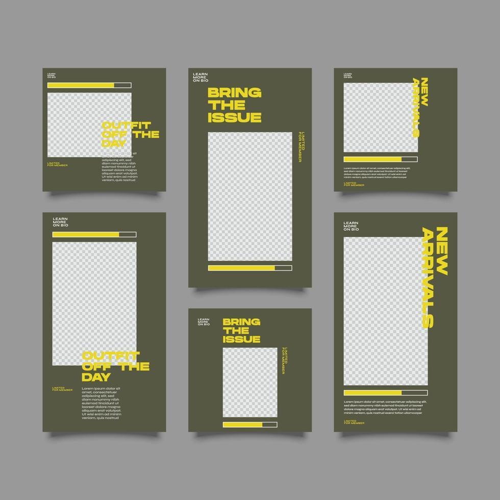 digitale stedelijke mode sociale media post en verhalen sjabloon vector
