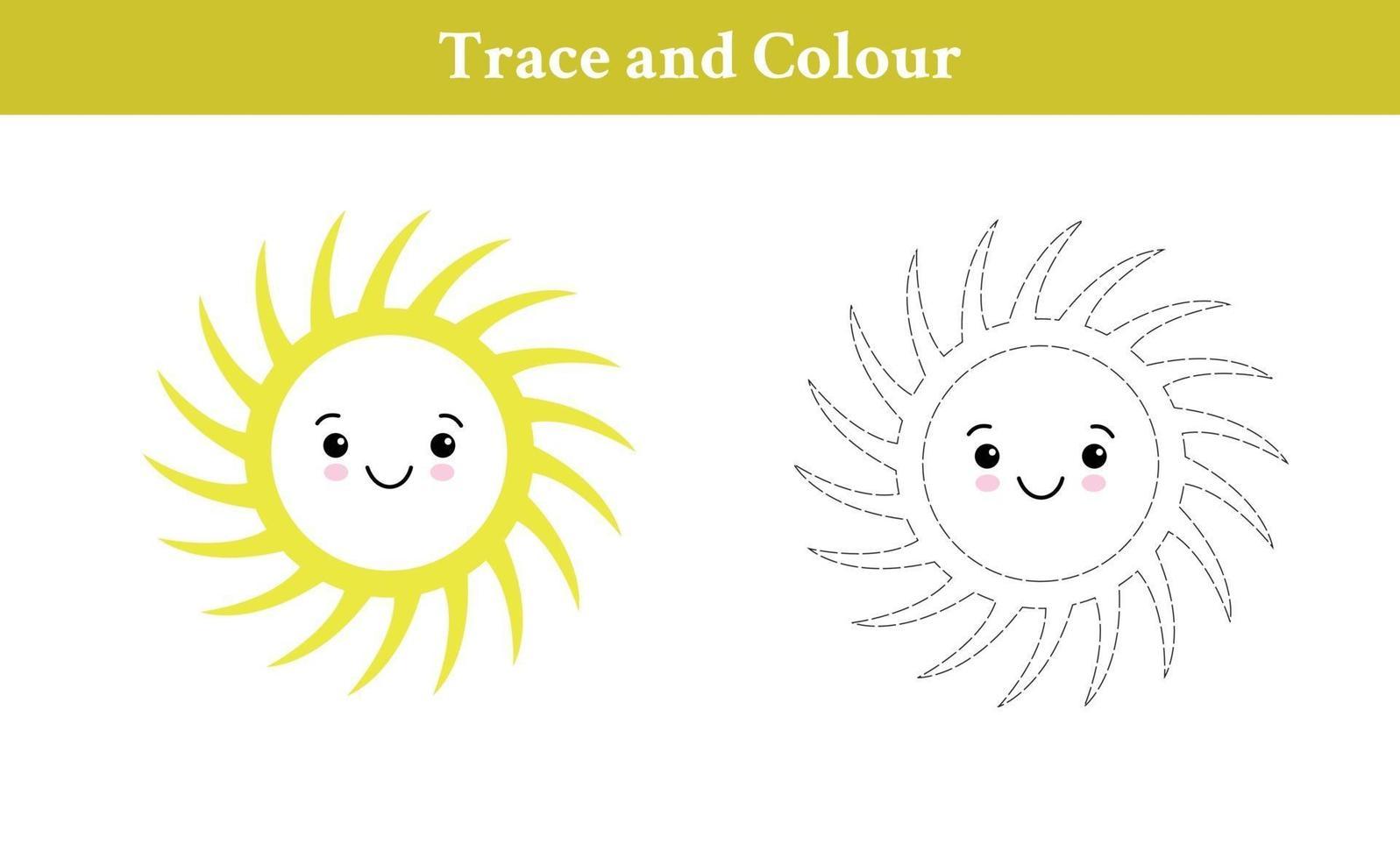 trace en kleur zon vector