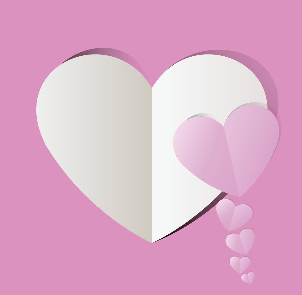 roze papier gesneden hart, Valentijnsdag. vector vakantie illustratie.
