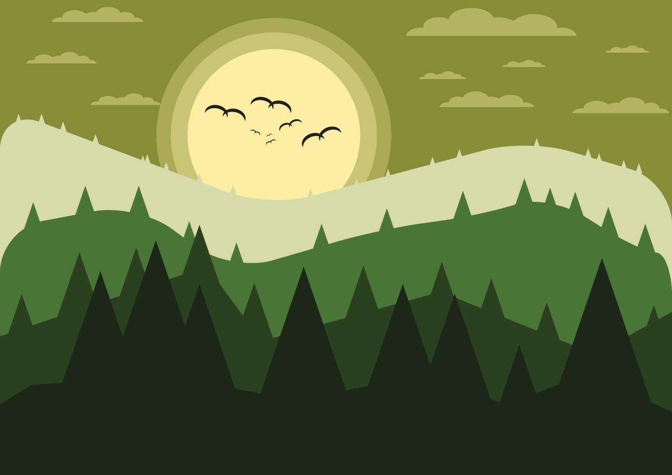 bergen met boslandschap. natuur achtergrond. vector