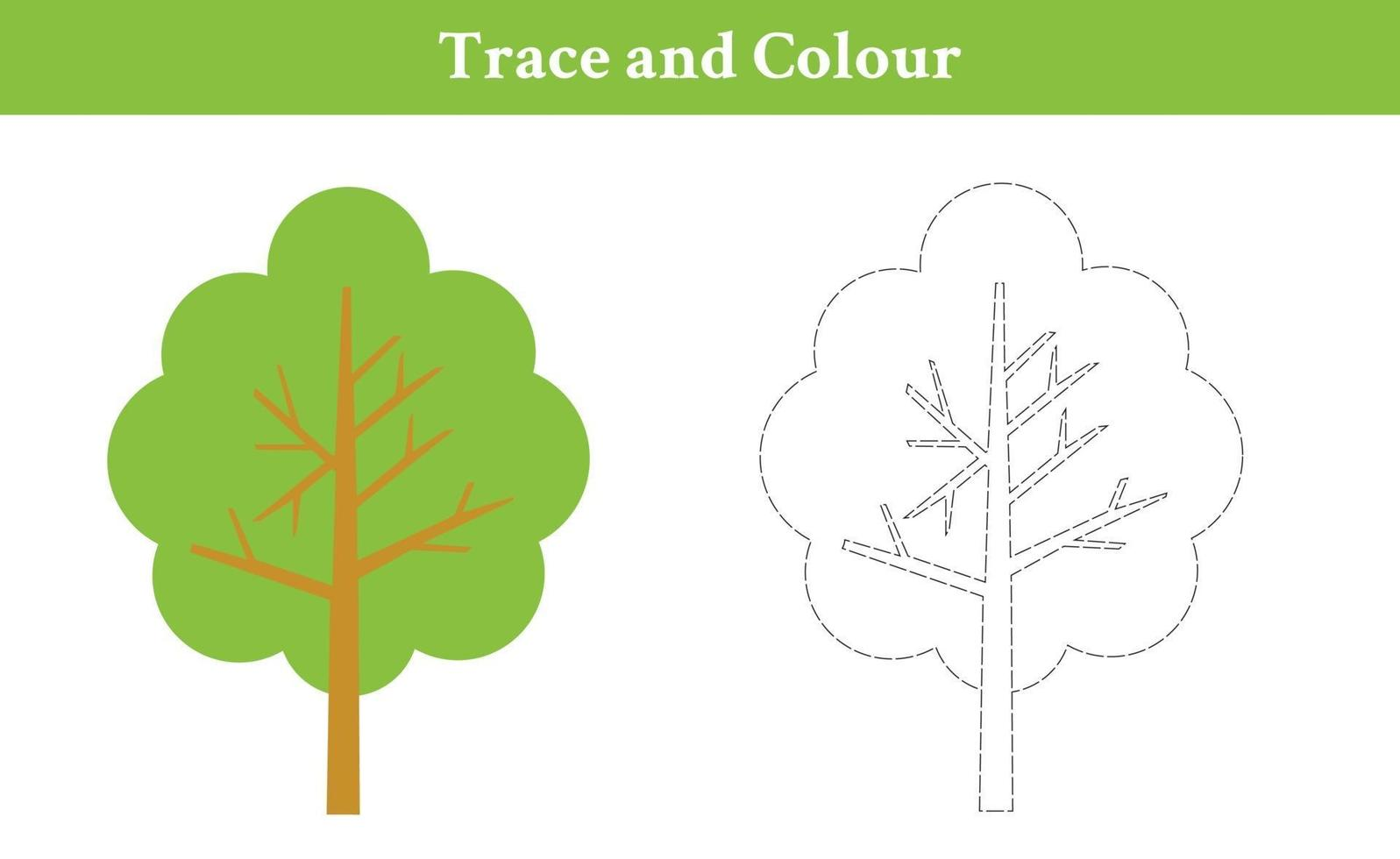 trace en kleur boom vector
