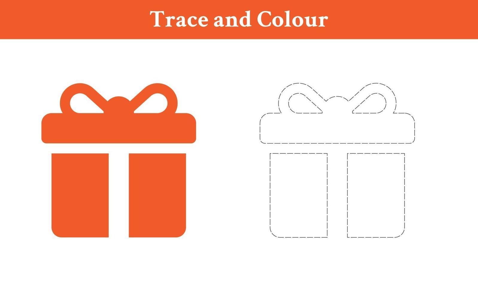 traceer en kleur geschenkdoos vector