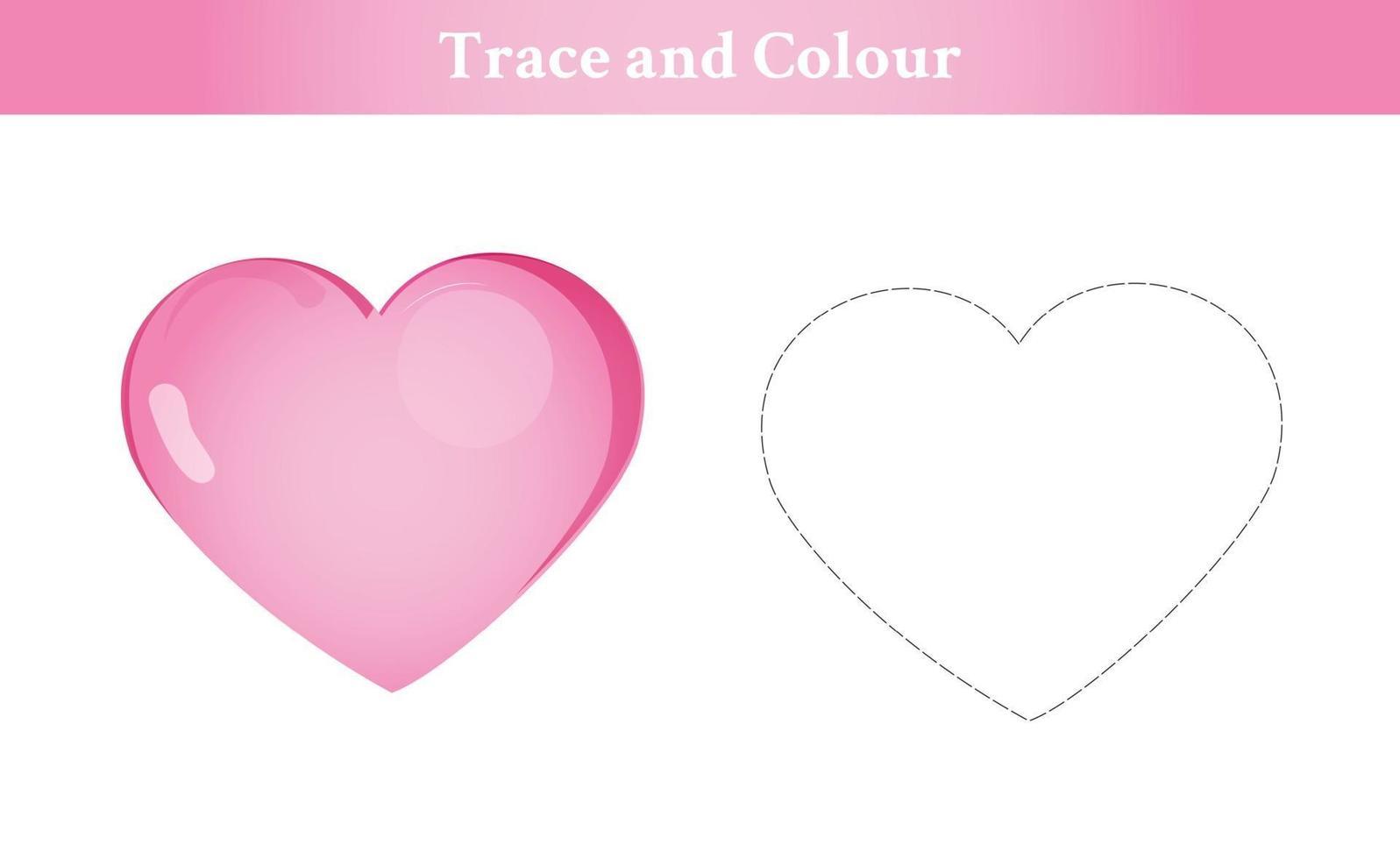 trace en kleur hart vector