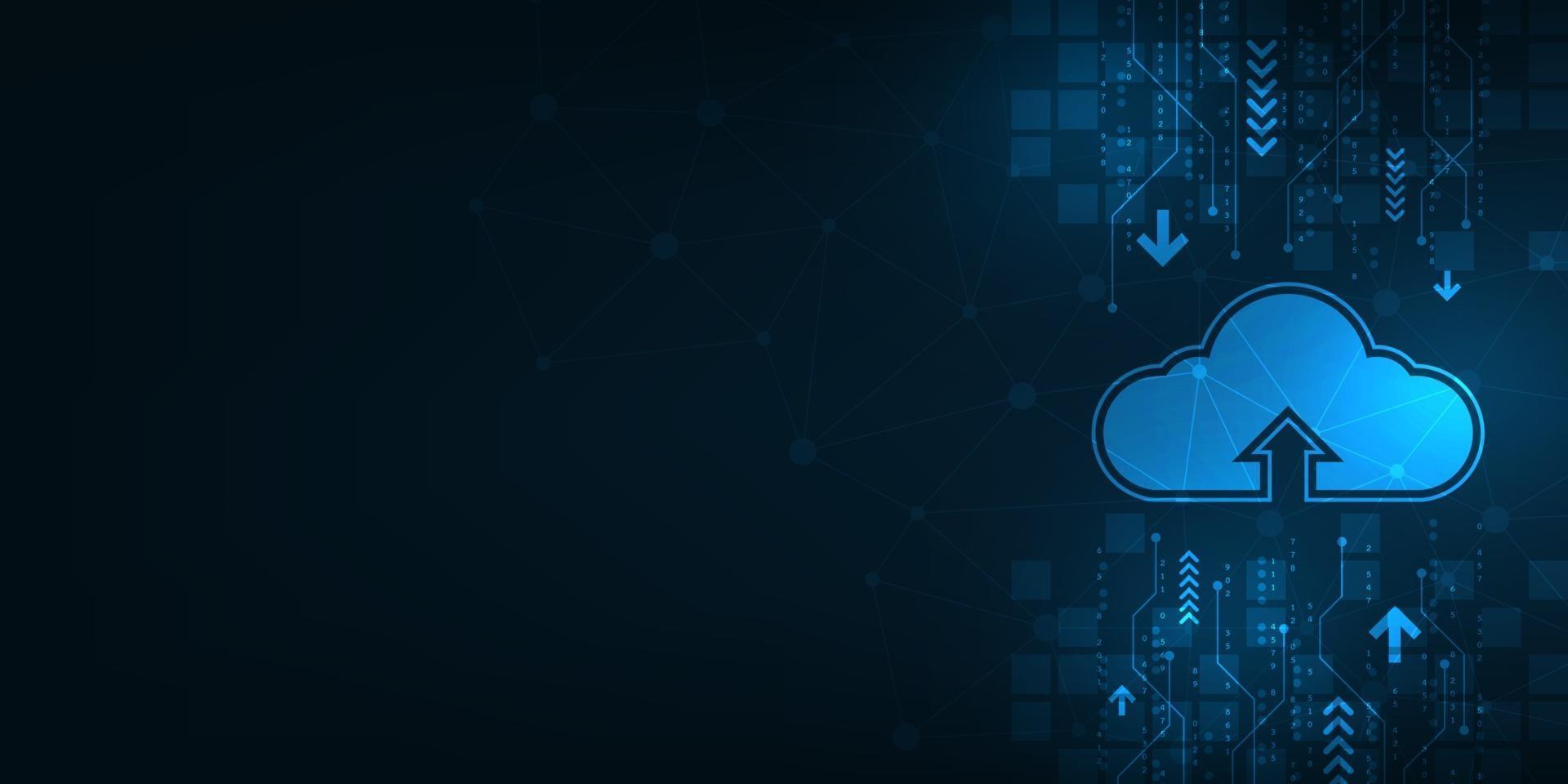 cloud-interface die het uploaden van gegevens naar internet laat zien. vector