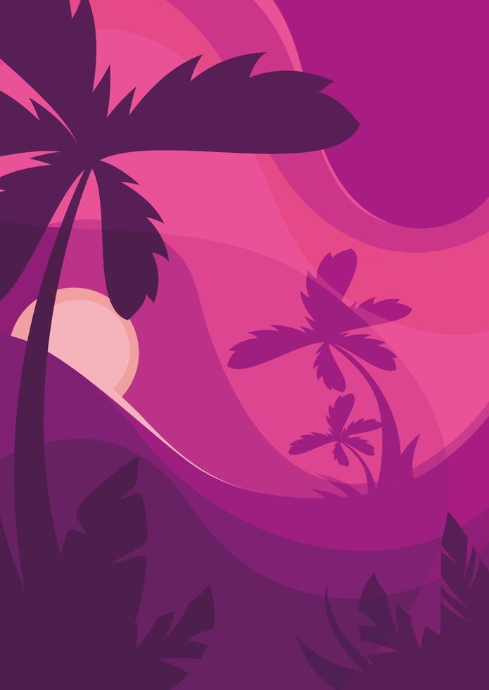 poster sjabloon met palmbomen bij zonsondergang. vector